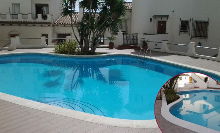 Piedra de piscina aplantillada curva